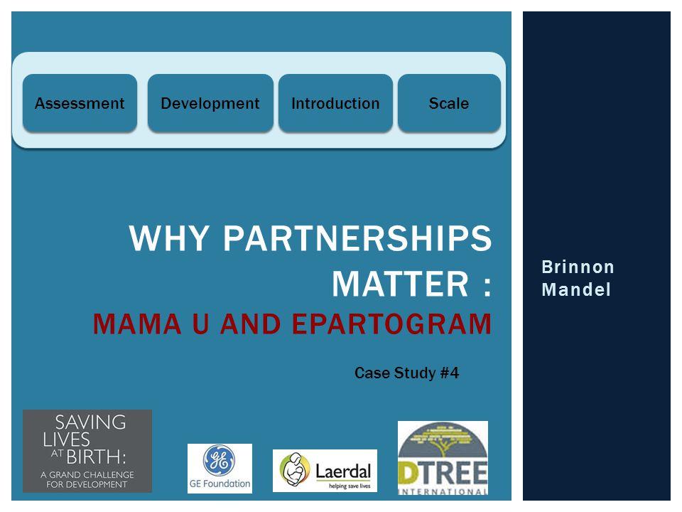 Brinnon Mandel WHY PARTNERSHIPS MATTER : MAMA U AND EPARTOGRAM Case Study #4 Introduction Scale Development Assessment