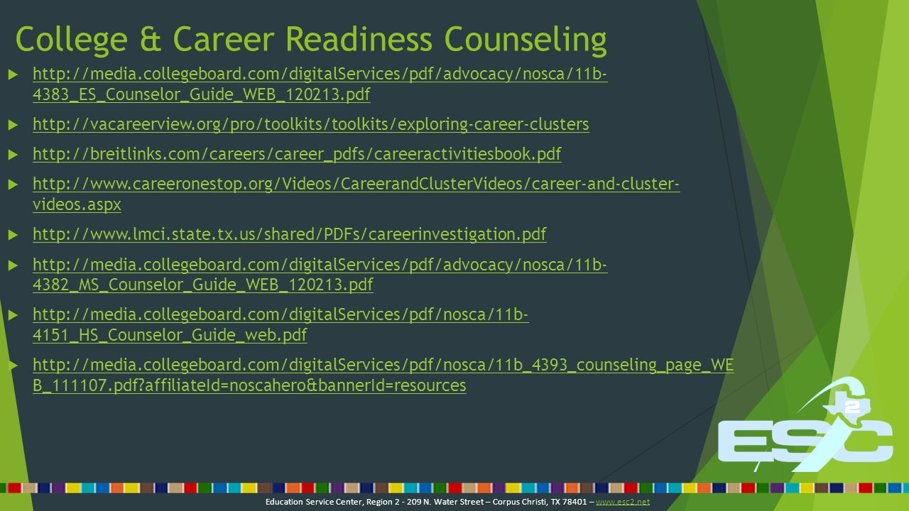 College & Career Readiness Counseling  http://media.collegeboard.com/digitalServices/pdf/advocacy/nosca/11b- 4383_ES_Counselor_Guide_WEB_120213.pdf http://media.collegeboard.com/digitalServices/pdf/advocacy/nosca/11b- 4383_ES_Counselor_Guide_WEB_120213.pdf  http://vacareerview.org/pro/toolkits/toolkits/exploring-career-clusters http://vacareerview.org/pro/toolkits/toolkits/exploring-career-clusters  http://breitlinks.com/careers/career_pdfs/careeractivitiesbook.pdf http://breitlinks.com/careers/career_pdfs/careeractivitiesbook.pdf  http://www.careeronestop.org/Videos/CareerandClusterVideos/career-and-cluster- videos.aspx http://www.careeronestop.org/Videos/CareerandClusterVideos/career-and-cluster- videos.aspx  http://www.lmci.state.tx.us/shared/PDFs/careerinvestigation.pdf http://www.lmci.state.tx.us/shared/PDFs/careerinvestigation.pdf  http://media.collegeboard.com/digitalServices/pdf/advocacy/nosca/11b- 4382_MS_Counselor_Guide_WEB_120213.pdf http://media.collegeboard.com/digitalServices/pdf/advocacy/nosca/11b- 4382_MS_Counselor_Guide_WEB_120213.pdf  http://media.collegeboard.com/digitalServices/pdf/nosca/11b- 4151_HS_Counselor_Guide_web.pdf http://media.collegeboard.com/digitalServices/pdf/nosca/11b- 4151_HS_Counselor_Guide_web.pdf  http://media.collegeboard.com/digitalServices/pdf/nosca/11b_4393_counseling_page_WE B_111107.pdf?affiliateId=noscahero&bannerId=resources http://media.collegeboard.com/digitalServices/pdf/nosca/11b_4393_counseling_page_WE B_111107.pdf?affiliateId=noscahero&bannerId=resources Education Service Center, Region 2 - 209 N.