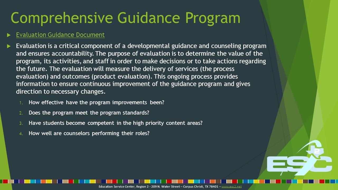 Comprehensive Guidance Program  Evaluation Guidance Document Evaluation Guidance Document 1.