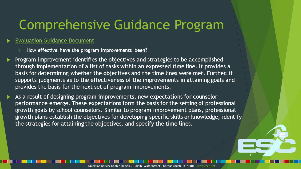 Comprehensive Guidance Program  Evaluation Guidance Document Evaluation Guidance Document 2.