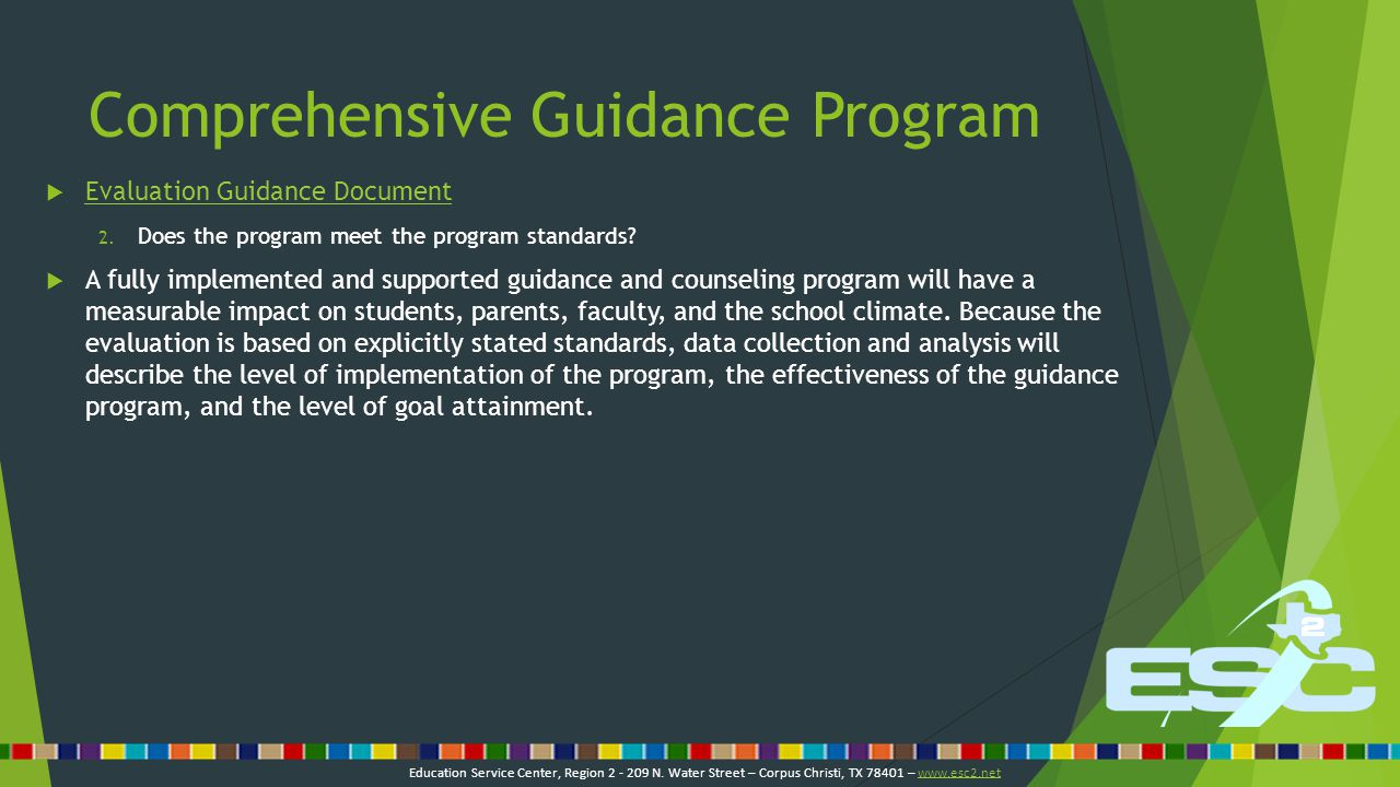 Comprehensive Guidance Program  Evaluation Guidance Document Evaluation Guidance Document 3.