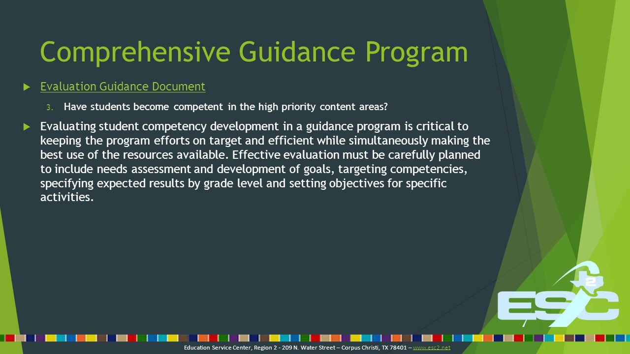 Comprehensive Guidance Program  Evaluation Guidance Document Evaluation Guidance Document 4.