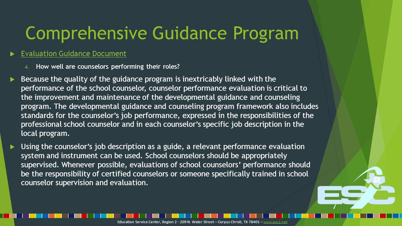 Comprehensive Guidance Program  Data collection related to the comprehensive guidance program:  Track minutes spent  Judson ISD Education Service Center, Region 2 - 209 N.