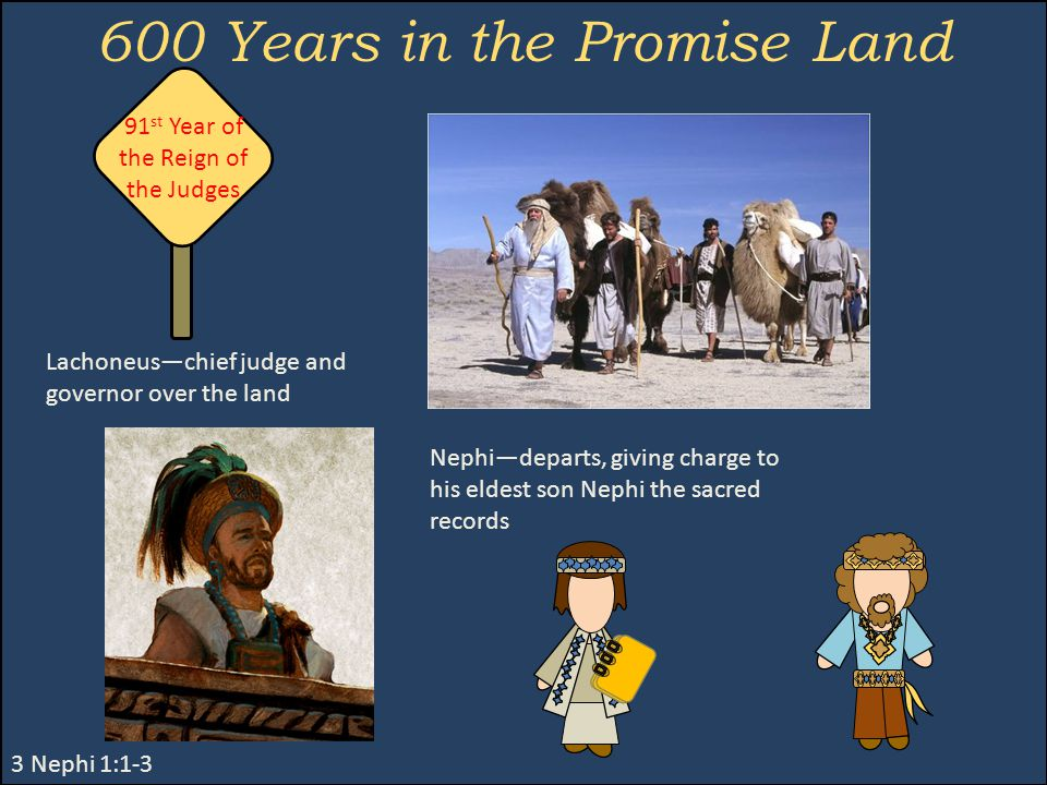 600 Years in the Promise Land 3 Nephi 1:1-3 Nephi—departs, giving charge to his eldest son Nephi the sacred records Lachoneus—chief judge and governor