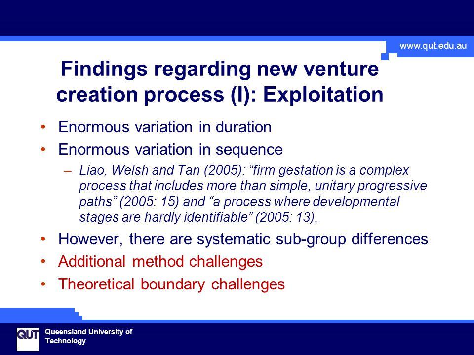 www.qut.edu.au Queensland University of Technology Findings regarding new venture creation process (I): Exploitation Enormous variation in duration En