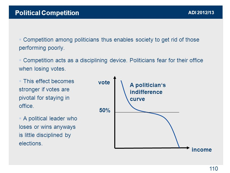 ADI 2012/13 110  Competition among politicians thus enables society to get rid of those performing poorly.  Competition acts as a disciplining devic