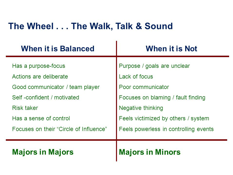 The Wheel... The Walk, Talk & Sound When it is Balanced When it is Not Has a purpose-focus Actions are deliberate Good communicator / team player Self