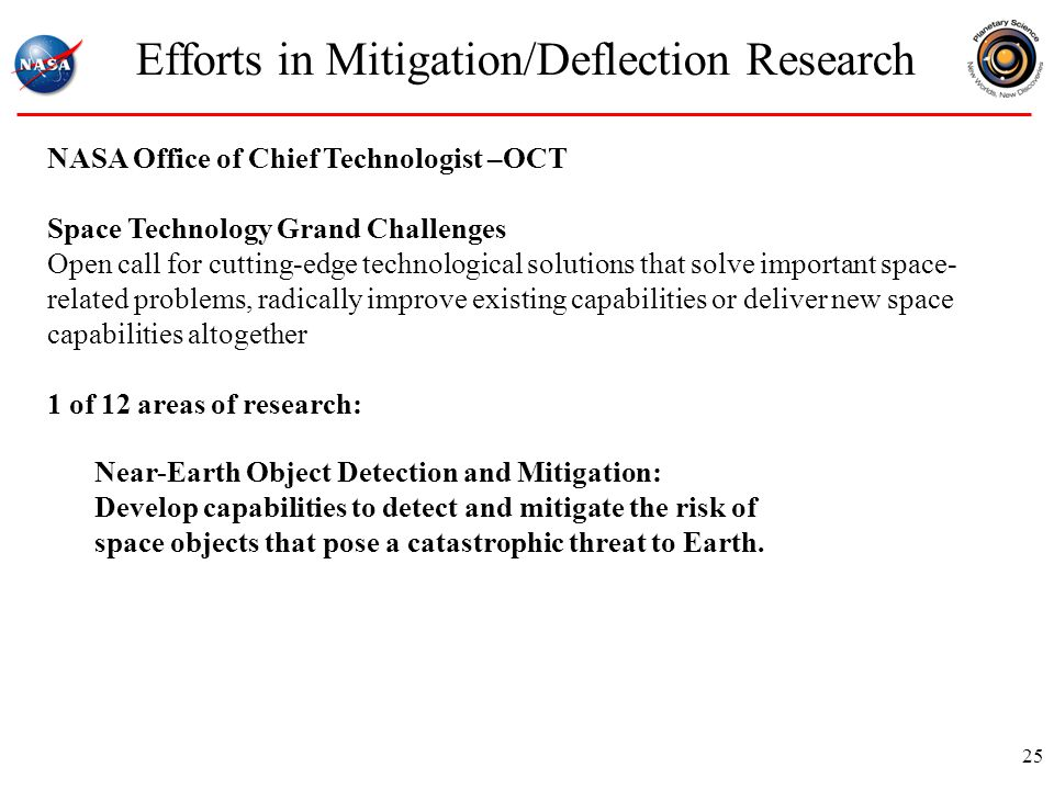 Efforts in Mitigation/Deflection Research 25 NASA Office of Chief Technologist –OCT Space Technology Grand Challenges Open call for cutting-edge technological solutions that solve important space- related problems, radically improve existing capabilities or deliver new space capabilities altogether 1 of 12 areas of research: Near-Earth Object Detection and Mitigation: Develop capabilities to detect and mitigate the risk of space objects that pose a catastrophic threat to Earth.