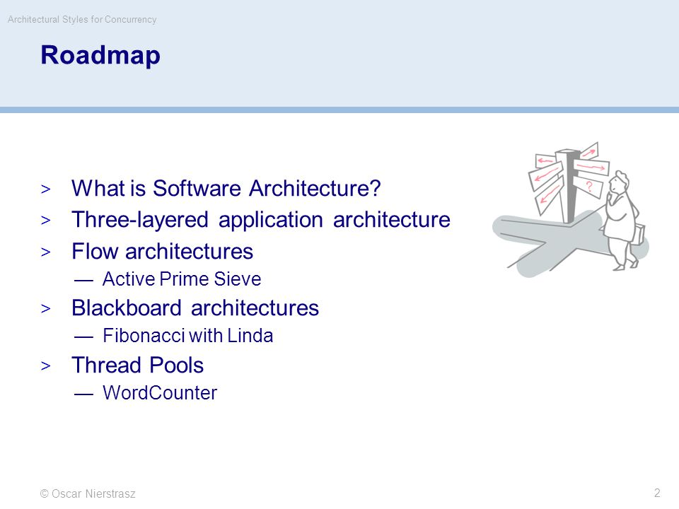 © Oscar Nierstrasz 33 Roadmap  What is Software Architecture.