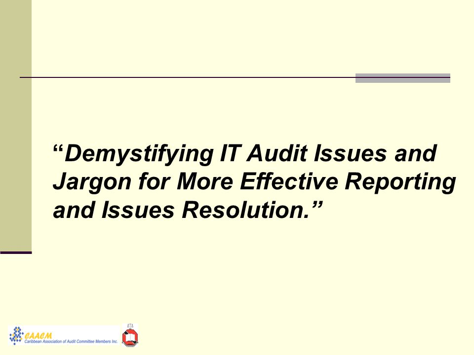 Demystifying IT Audit Issues and Jargon for More Effective Reporting and Issues Resolution.