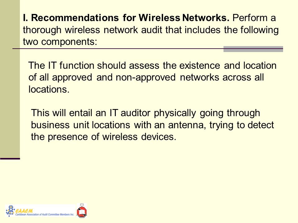 I. Recommendations for Wireless Networks.