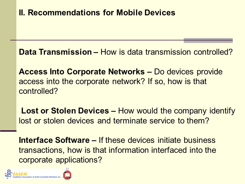 II. Recommendations for Mobile Devices Data Transmission – How is data transmission controlled.