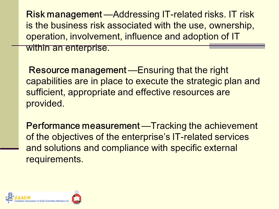 Risk management —Addressing IT-related risks.