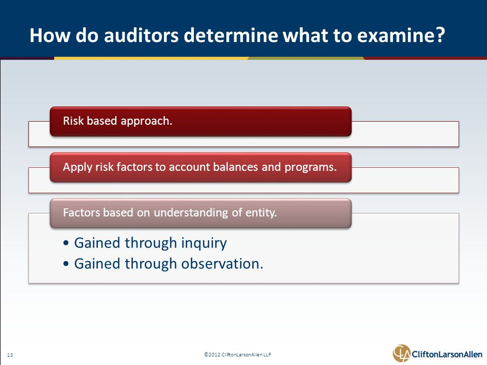 ©2012 CliftonLarsonAllen LLP 13 How do auditors determine what to examine ? Risk based approach.Apply risk factors to account balances and programs. G