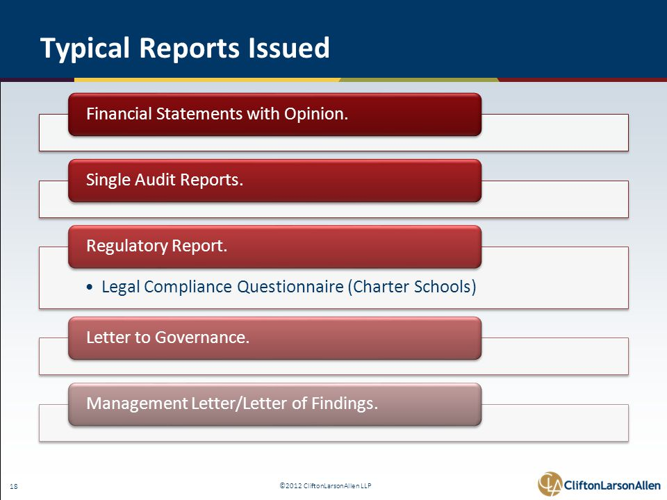 ©2012 CliftonLarsonAllen LLP 18 Typical Reports Issued Financial Statements with Opinion.Single Audit Reports.