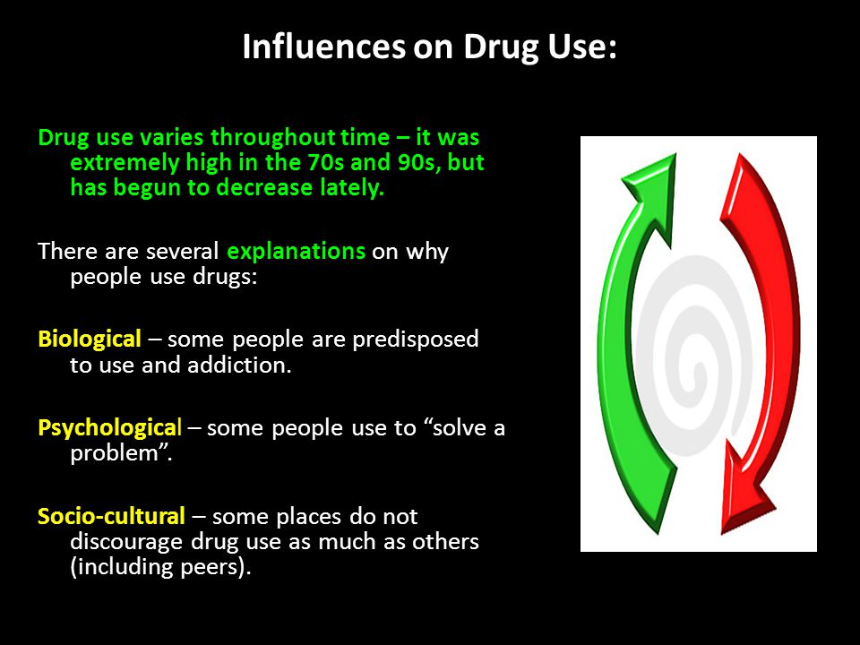Influences on Drug Use: Drug use varies throughout time – it was extremely high in the 70s and 90s, but has begun to decrease lately.