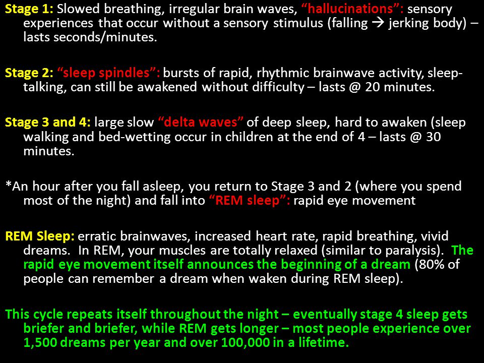 Stage 1: Slowed breathing, irregular brain waves, hallucinations : sensory experiences that occur without a sensory stimulus (falling  jerking body) – lasts seconds/minutes.