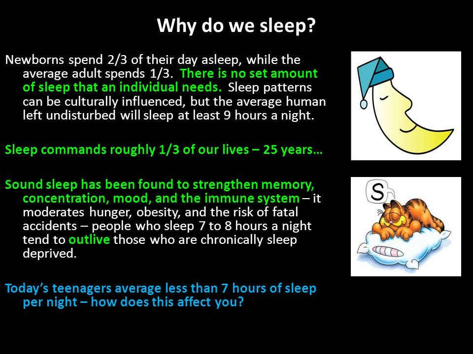 Why do we sleep. Newborns spend 2/3 of their day asleep, while the average adult spends 1/3.