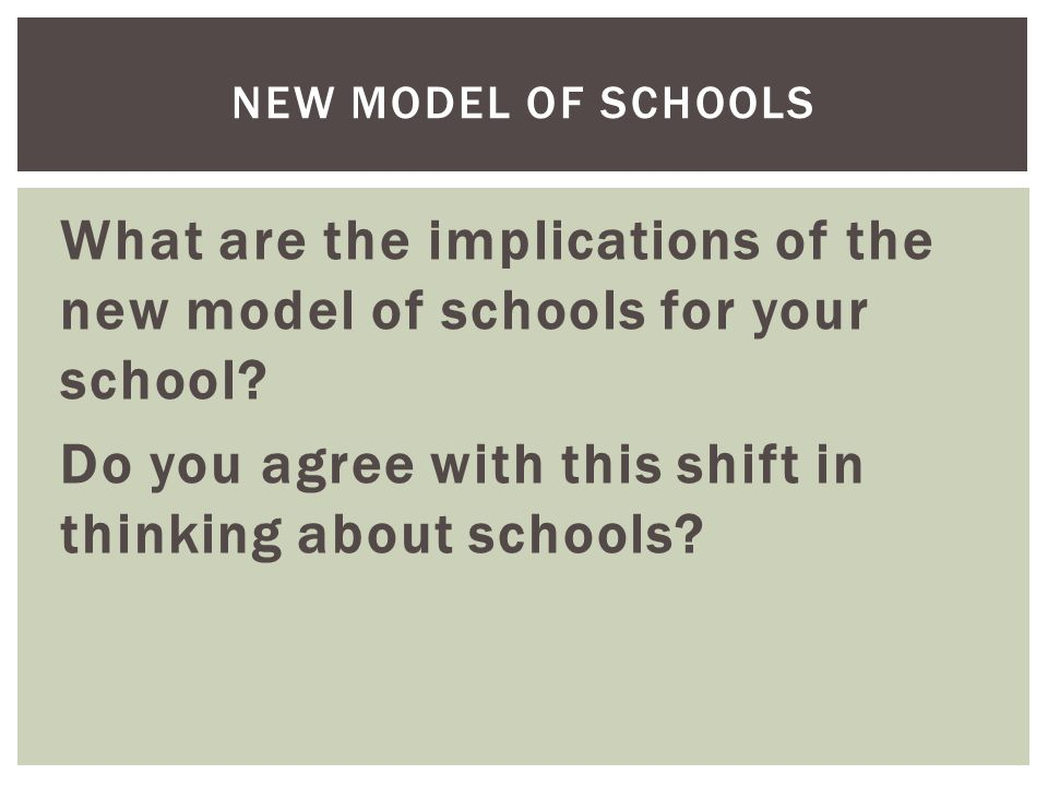 What are the implications of the new model of schools for your school.