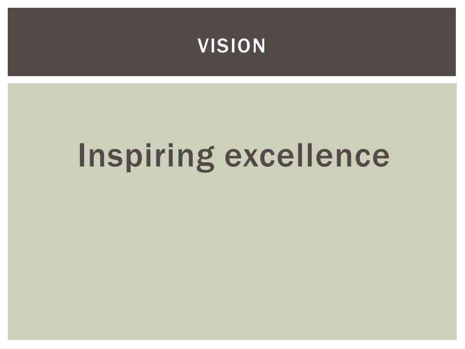Inspiring excellence VISION