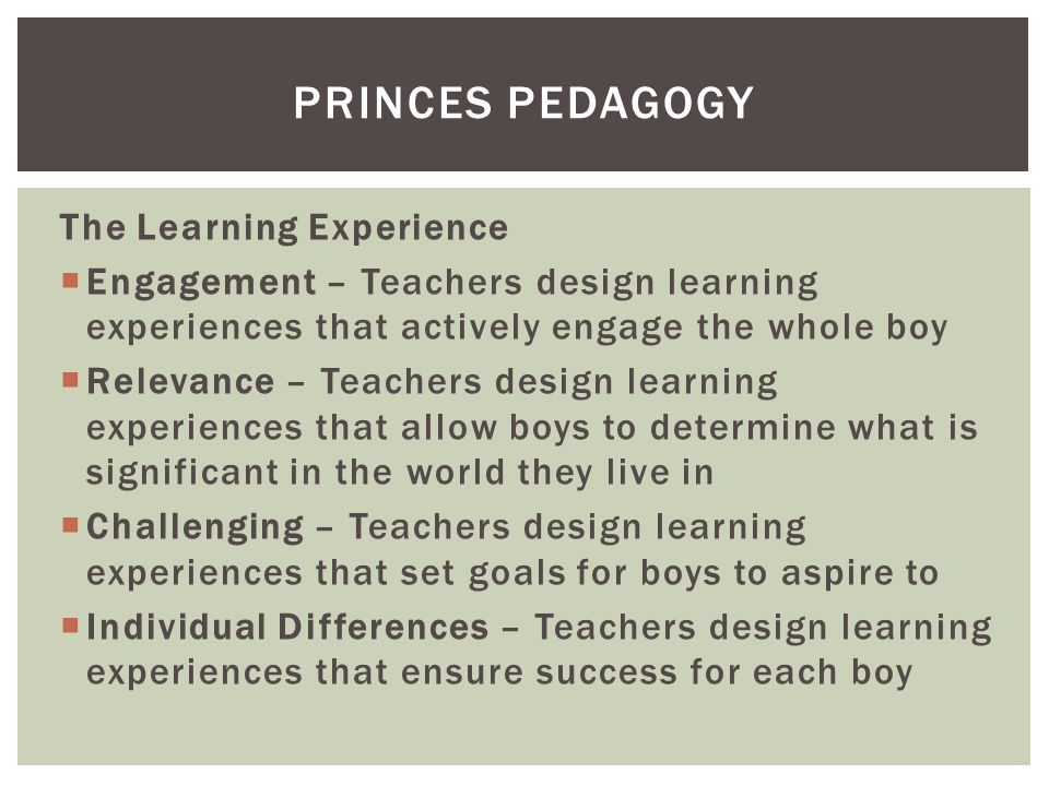 The Learning Experience  Engagement – Teachers design learning experiences that actively engage the whole boy  Relevance – Teachers design learning experiences that allow boys to determine what is significant in the world they live in  Challenging – Teachers design learning experiences that set goals for boys to aspire to  Individual Differences – Teachers design learning experiences that ensure success for each boy PRINCES PEDAGOGY