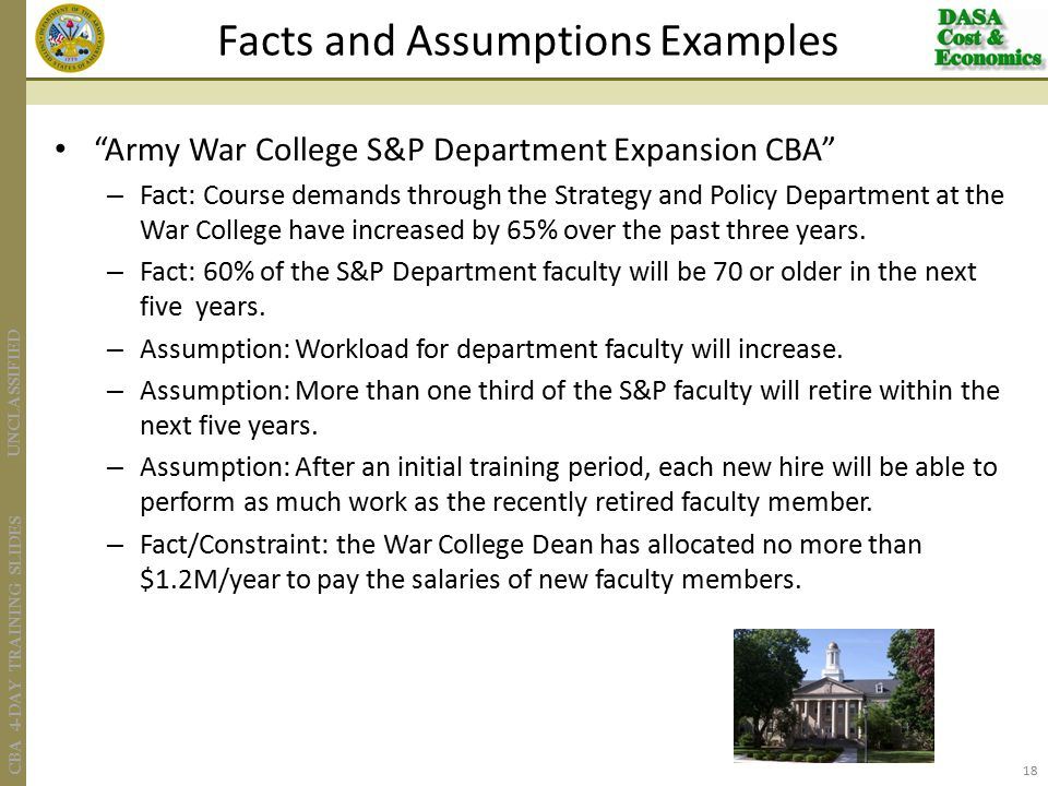 UNCLASSIFIED CBA 4-DAY TRAINING SLIDES Army War College S&P Department Expansion CBA – Fact: Course demands through the Strategy and Policy Department at the War College have increased by 65% over the past three years.