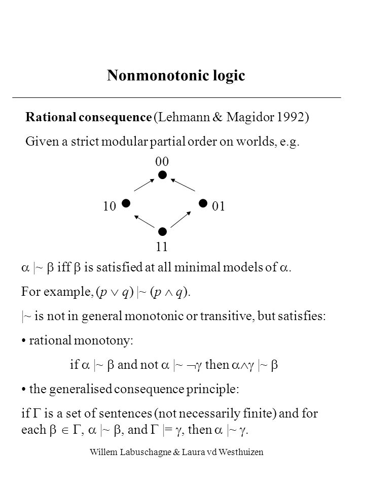 Willem Labuschagne & Laura vd Westhuizen Nonmonotonic logic Rational consequence (Lehmann & Magidor 1992) Given a strict modular partial order on worlds, e.g.