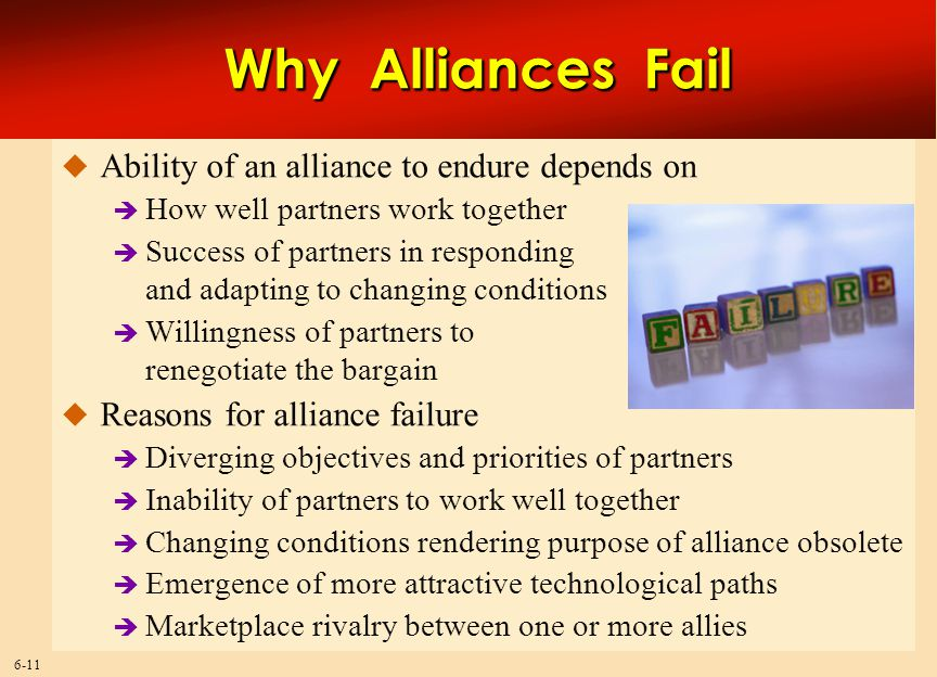 6-11 Why Alliances Fail  Ability of an alliance to endure depends on  How well partners work together  Success of partners in responding and adapti