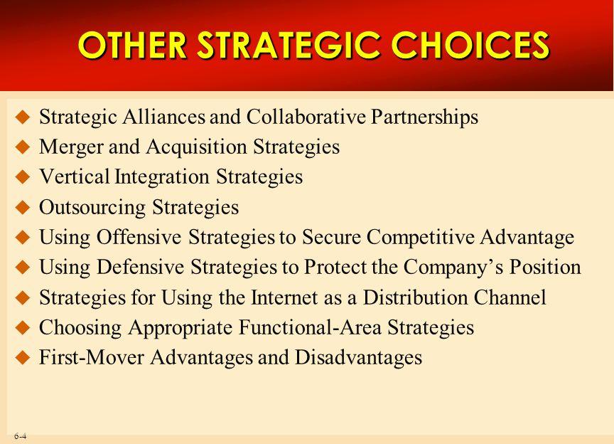 6-5 A Company's Menu of Strategy Options A Company's Menu of Strategy Options