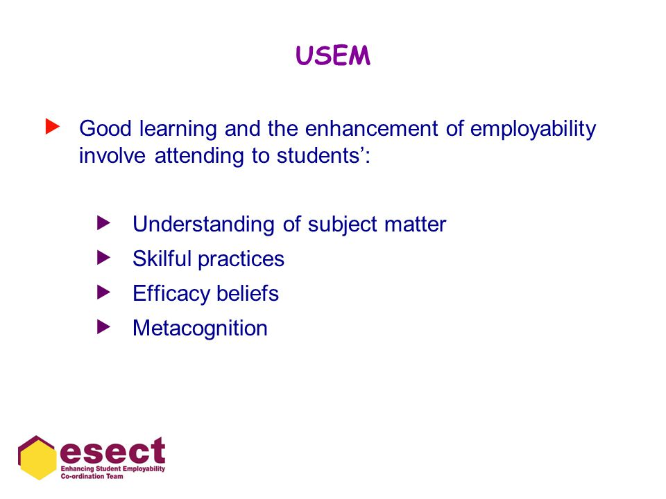 USEM  Good learning and the enhancement of employability involve attending to students':  Understanding of subject matter  Skilful practices  Efficacy beliefs  Metacognition