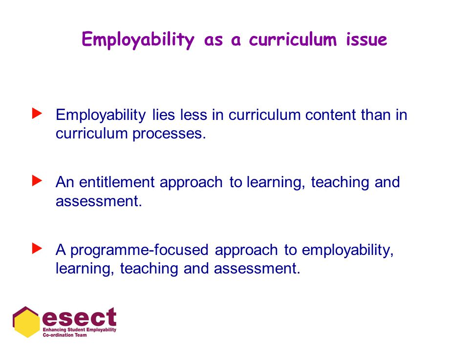 Employability as a curriculum issue  Employability lies less in curriculum content than in curriculum processes.