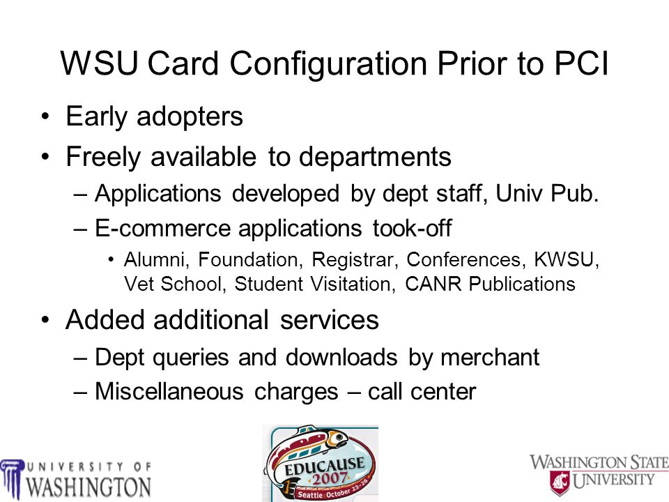WSU Card Environment (pre-PCI DSS)