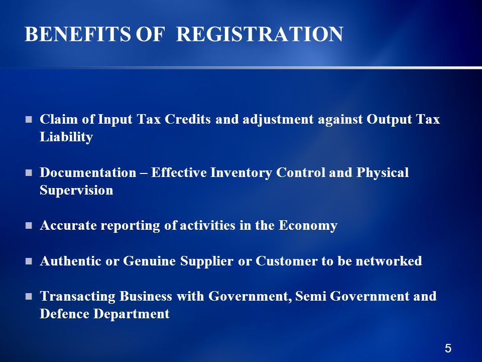 16 FEDERAL EXCISE ACT, 2005 Benefits of Registration Persons Required to be Registered Application Jurisdiction Failure to get Registration Change of Particulars Transfer of Registration De Registration