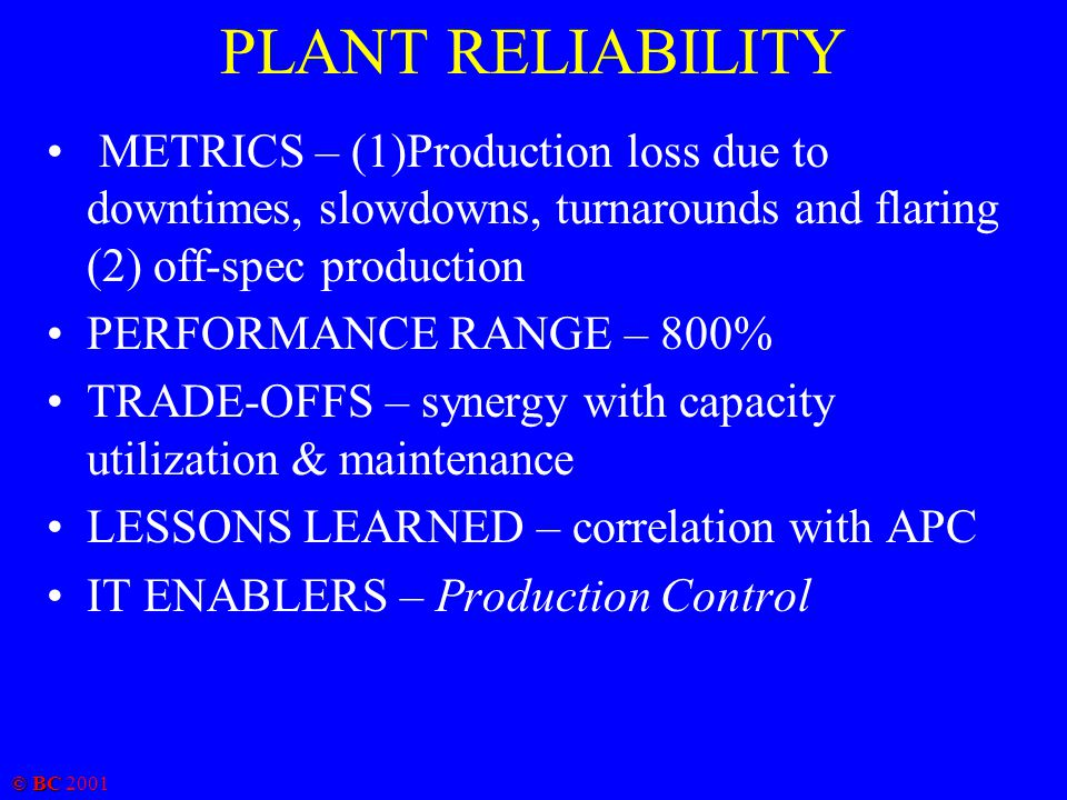 © BC 2001 PLANT RELIABILITY METRICS – (1)Production loss due to downtimes, slowdowns, turnarounds and flaring (2) off-spec production PERFORMANCE RANG