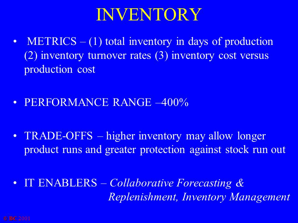© BC 2001 INVENTORY METRICS – (1) total inventory in days of production (2) inventory turnover rates (3) inventory cost versus production cost PERFORM