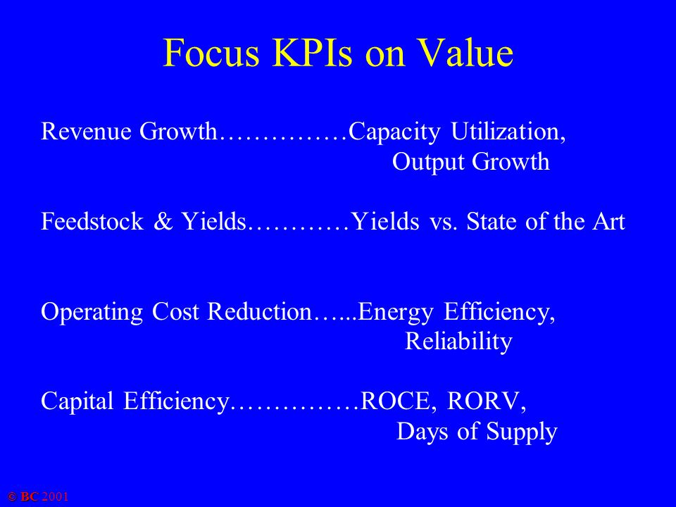 © BC 2001 Focus KPIs on Value Revenue Growth……………Capacity Utilization, Output Growth Feedstock & Yields…………Yields vs. State of the Art Operating Cost