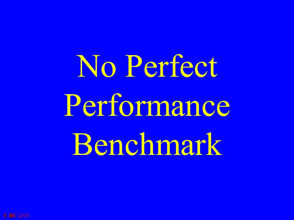 © BC 2001 No Perfect Performance Benchmark