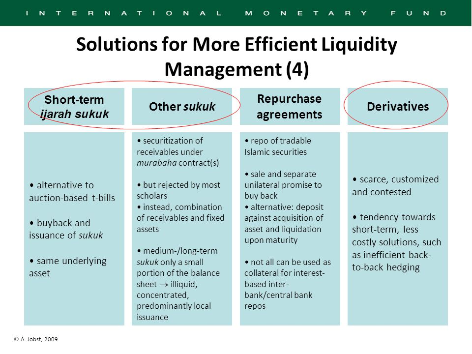 © A. Jobst, 2009 Solutions for More Efficient Liquidity Management (4) alternative to auction-based t-bills buyback and issuance of sukuk same underly