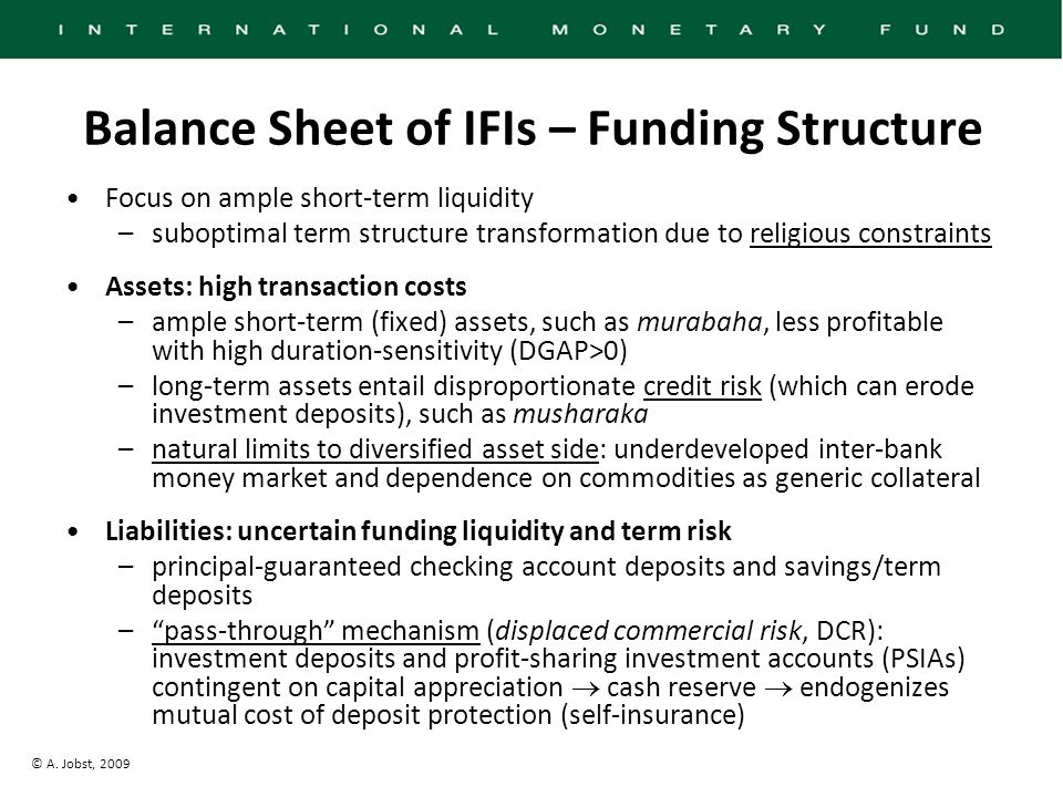 © A. Jobst, 2009 Balance Sheet of IFIs – Funding Structure Focus on ample short-term liquidity –suboptimal term structure transformation due to religi