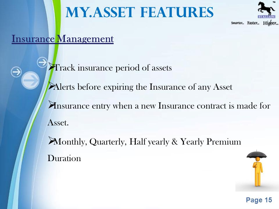 Powerpoint Templates Page 14  Track which items are in Warranty/AMC  Alerts before expiring the warranty/AMC of any Asset  AMC entry when a new AMC contract is made  Comprehensive & non-comprehensive AMC's  Fixed AMC value as well as based on the % of the asset value Warranty/AMC Management My.ASSET Features