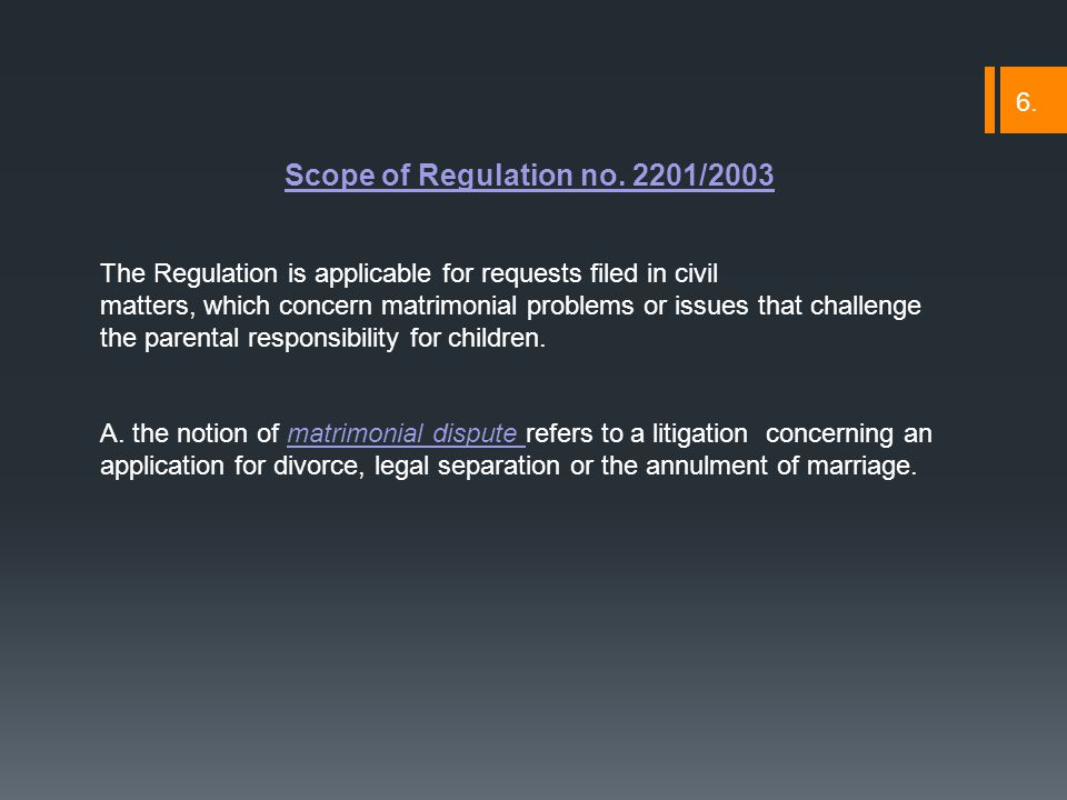 Scope of Regulation no.