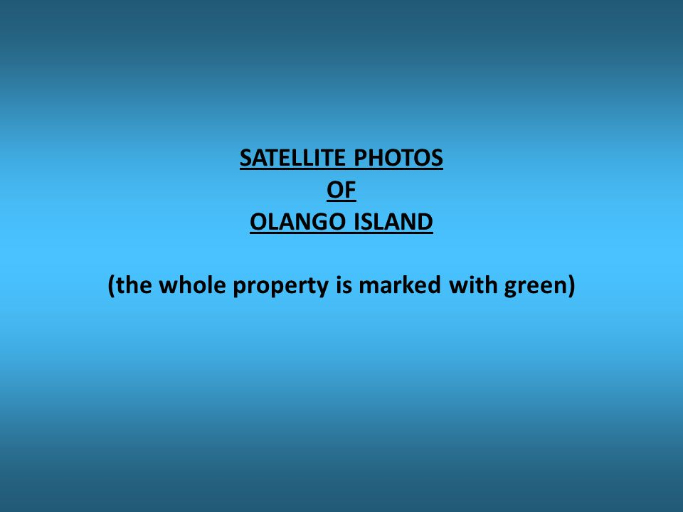 SATELLITE PHOTOS OF OLANGO ISLAND (the whole property is marked with green)