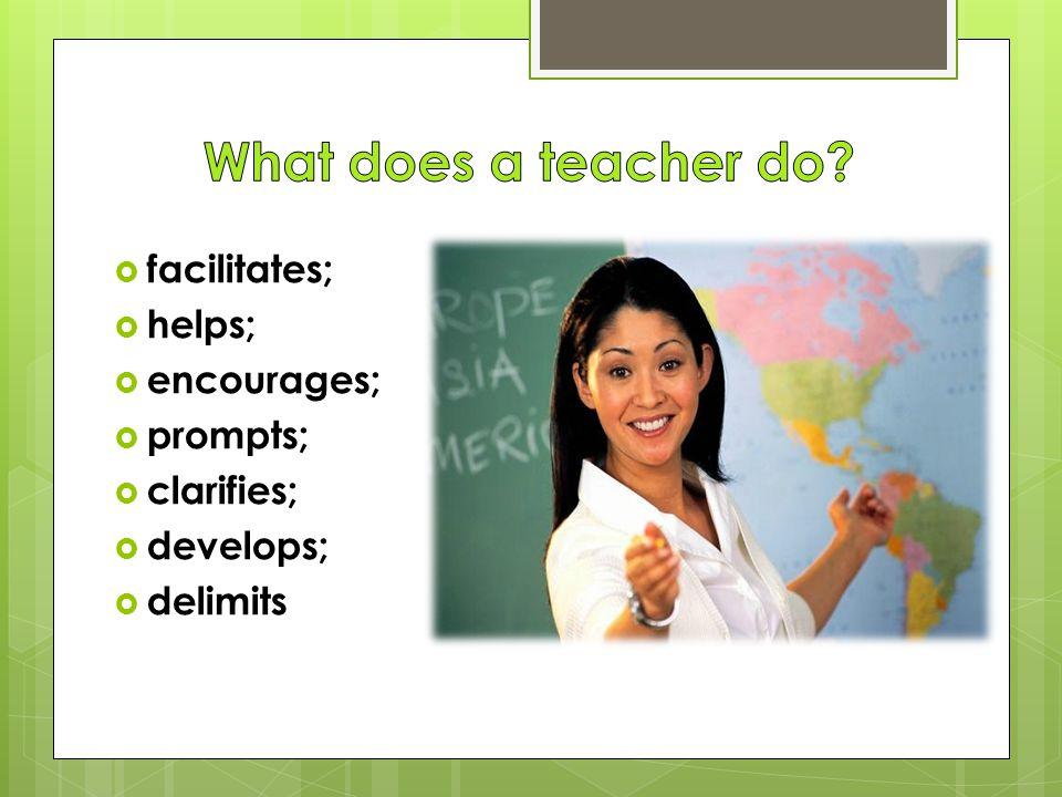  facilitates;  helps;  encourages;  prompts;  clarifies;  develops;  delimits