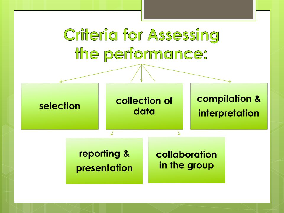 selection collection of data compilation & interpretation reporting & presentation collaboration in the group