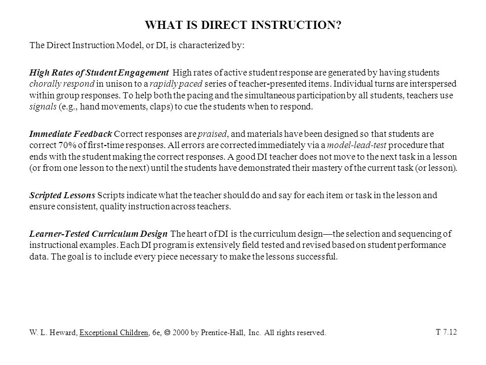 WHAT IS DIRECT INSTRUCTION.
