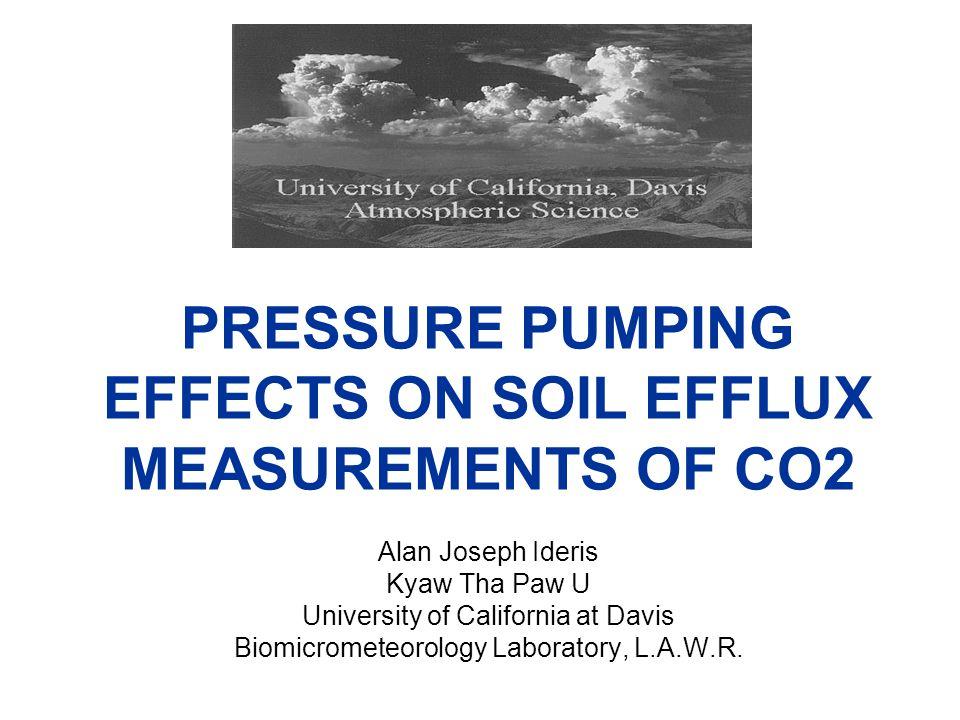 PRESSURE PUMPING EFFECTS ON SOIL EFFLUX MEASUREMENTS OF CO2 Alan Joseph Ideris Kyaw Tha Paw U University of California at Davis Biomicrometeorology Laboratory, L.A.W.R.