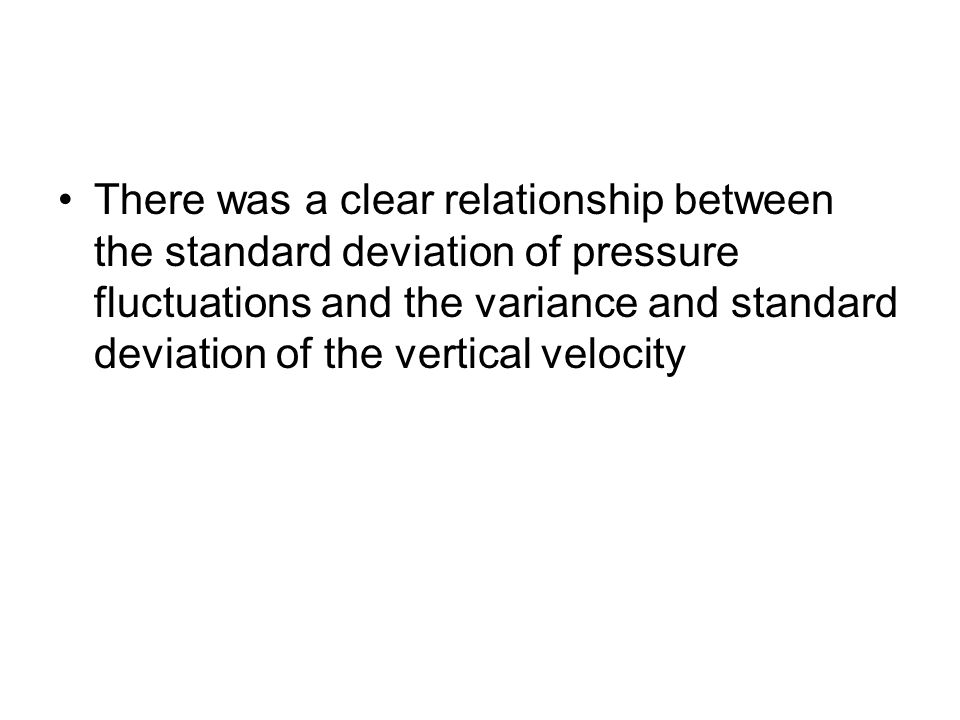 There was a clear relationship between the standard deviation of pressure fluctuations and the variance and standard deviation of the vertical velocity