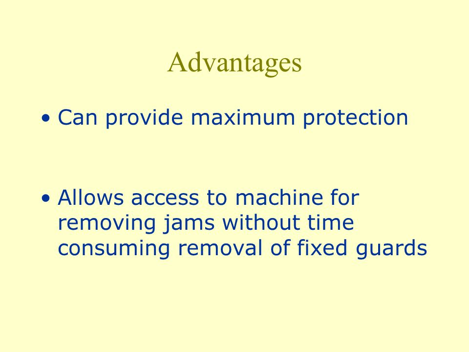 Safeguarding Action Shuts off or disengages power, stops the moving parts and prevents starting of machine when guard is open; should require the machine to be stopped before the worker can reach into the danger area.