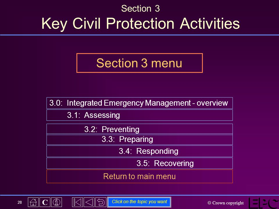  Crown copyright C 28 Section 3 Key Civil Protection Activities 3.0: Integrated Emergency Management - overview 3.1: Assessing 3.2: Preventing Click on the topic you want 3.3: Preparing 3.4: Responding 3.5: Recovering Return to main menu Section 3 menu