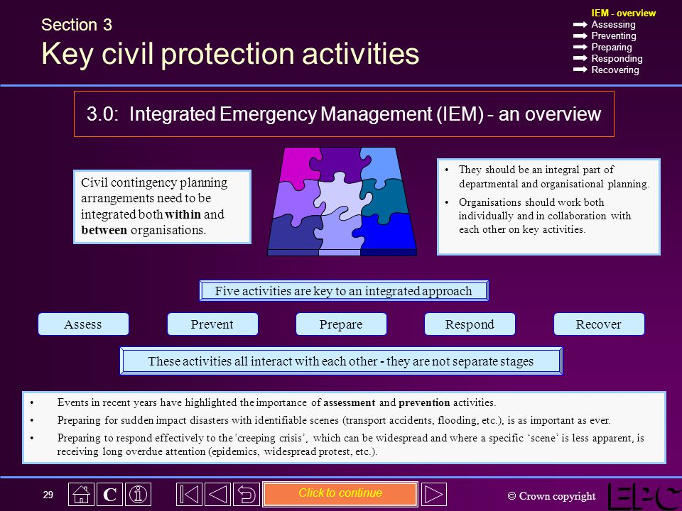  Crown copyright C 29 Civil contingency planning arrangements need to be integrated both within and between organisations.